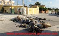 Lanzan basuras en las calles de Veron