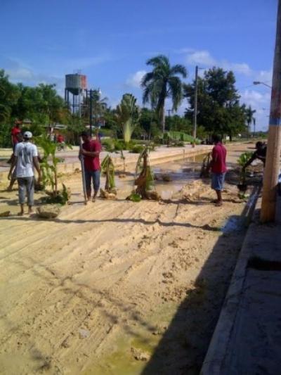 Siembran matas de plátanoS en protesta por arreglo de calle en San José de los Llanos:
